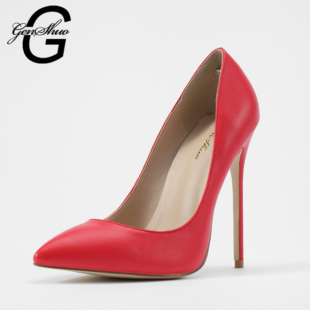 GENSHUO High Heel Women Pumps Extreme Heels Red High Heels Ladies Pointed Toe Stiletto Red Matt Faux Leather Dress Shoes Pumps