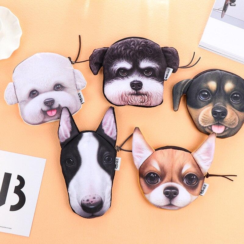 3D Animal Girl Wallet Bag Cute Ladies Dog Face Zipper Mini Dogs Coin Purses Childrens Purse Plush Bolsa De Moeda Coins Pouch