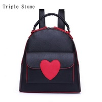 Triple Stone Brand Design Leather Backpack Women College Style Schoolbags For Teenagers Girls Red Heart Lady