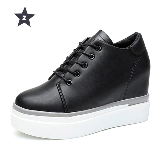 75de2241d95a Z Spring 2018 Woman Leather Shoes White Black Wedges Platform Shoes Woman Sneakers  Fashion Casual Women Shoes Size 33-43