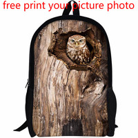 3d custom junior high school high school student bag backpack owl pet bird pattern picture photo free customized bag backpack