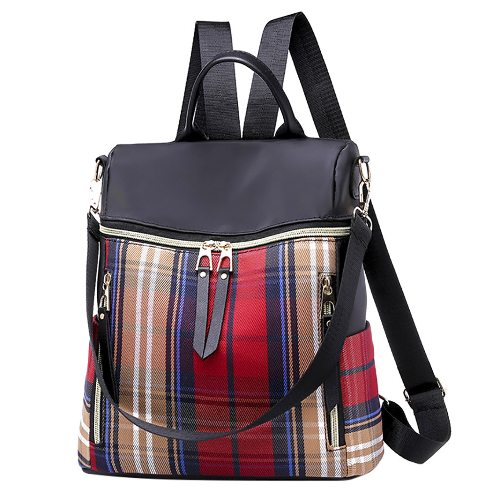 2019 New Women Fashion Plaid Backpack Waterproof Nylon Anti-theft Shoulder bag Couple For Girl casual backpacks dropshipping 621(China)