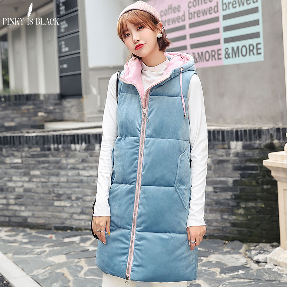 PinkyIsBlack 2019 Autumn Winter Vest Women Waistcoat Female Sleeveless Jacket Hooded Velvet Warm Long Vest Jacket Colete Feminin