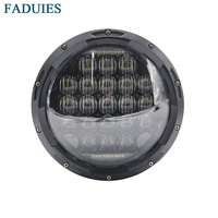 Free Shipping Black 7 Inch 5D LED Headlight 75W Round H4 Headlamp For Harley Davidson Motorcycle