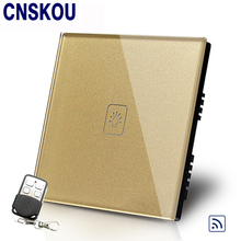 Free Shipping SANKOU UK Standard Remote Switch Golden Crystal Glass Panel 110~220V Wall Light Remote Touch Switches цена 2017