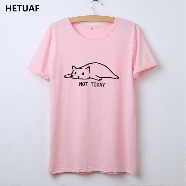 HETUAF Kawaii Cat Tshirt Women Graphic Tees Women Not Today Funny T Shirt Women Top Femme Cartoon Hippie Ulzzang Camisetas Mujer 1