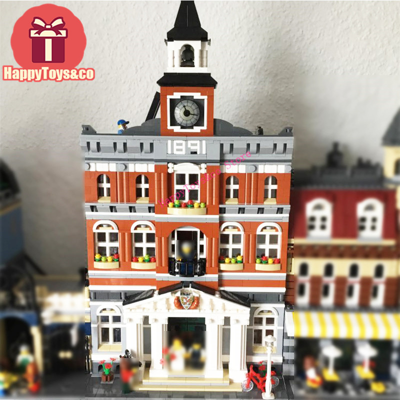 Lepin Street Scene series 10224 2859Pcs The town hall toys For Children Gift 15003 Building Blocks Set Compatible Education new lepin 16009 1151pcs queen anne s revenge pirates of the caribbean building blocks set compatible legoed with 4195 children