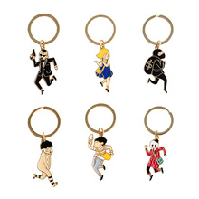 SANSUMMER New Style Fashionable Personality Exaggerated Gunman Sexy Female Robber Boy Funny Cute Person Key Chains 5645