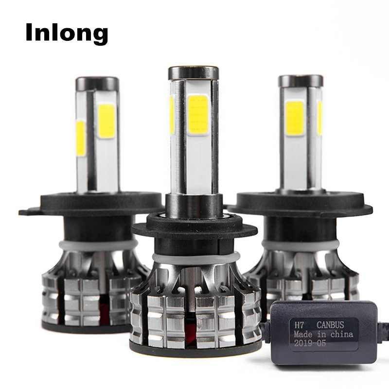 Inlong 4 Sides 2 Pcs H7 Led Bulbs No Error H4 led Canbus H11 LED Lamps h8 HB3 9005 HB4 9006 H9 80W 14000LM Auto Fog Lights 6000K