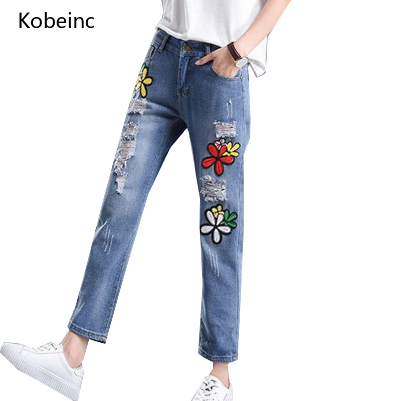 Kobeinc New Flower Embroidery Denim Jeans for Women Fashion Hole Vaqueros Mujer Summer Harem Pants Loose Ankle-length Jeans new summer vintage women ripped hole jeans high waist floral embroidery loose fashion ankle length women denim jeans harem pants