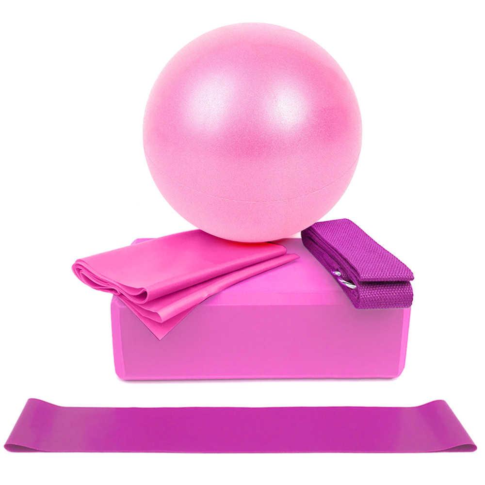 5 sztuk sprzęt do jogi zestaw zawiera piłka do jogi joga bloki rozciągania pasek odporność na taśmy sportowe taśma do ćwiczeń