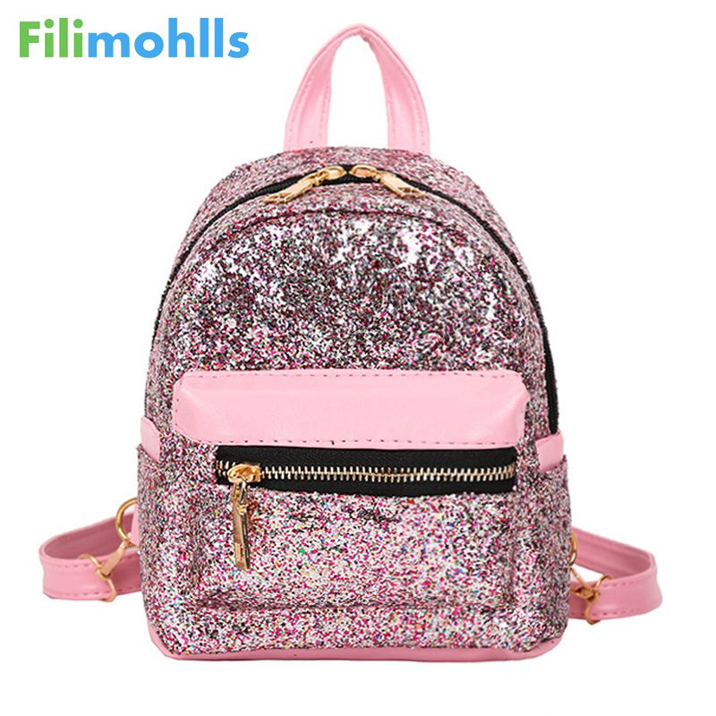 fashion small back pack school bags for teenage girls 2018 Womens Sequins Pu Leather Backpack children backpacks mini Bag S1455