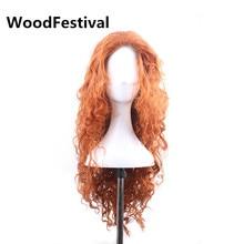 WoodFestival anime pelucas para mujer peluca naranja larga ondulada animada peluca valiente pelucas sintéticas resistentes al calor rizado