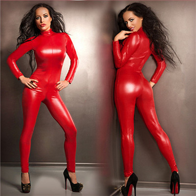 2017 Sexy Queen Red Faux Leather Jumpsuit Latex Bodysuit Lingerie High Stretch Zentai Suit Catsuit Women Club Pole Dance Costume
