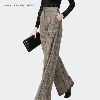 Spodnie damskie wysokiej talii spodnie szerokie nogawki Plus Size wełniane spodnie damskie 2018 Streetwear grube zimowe spodnie Pantalon damskie spodnie w kratę tanie i dobre opinie jianyuefangcheng Pełnej długości Wełna KR3992 Plaid Szerokie spodnie nogi Zipper fly Mieszkanie Wysoka Kobiety Luźne