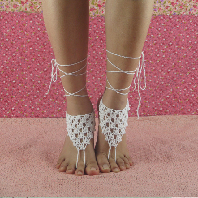 White Crochet Barefoot Sandals Beach Wedding Accessory Foot Jewelry Lace Shoes