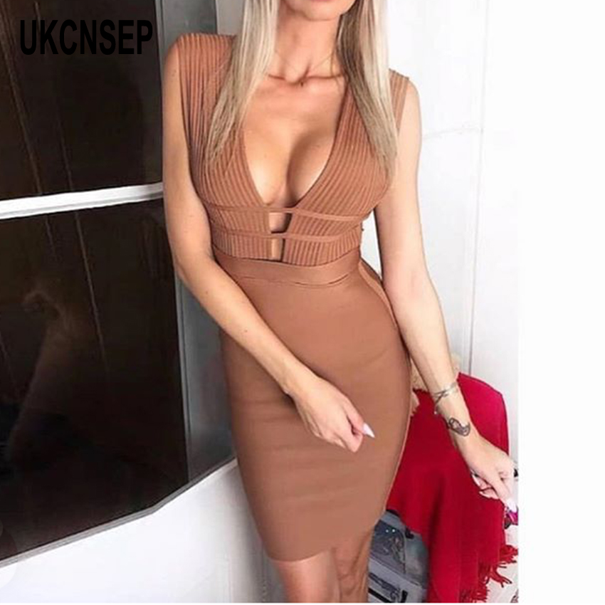 Vesttidos Chic Sleeveless V Sexy Sale Women Brown Party New Dress Striped Bodycon Neck Bandage 2019 Evening Hot PWqwpx7