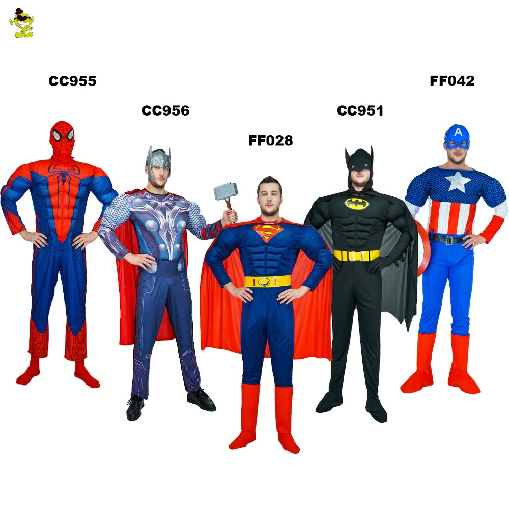 High Quality Adult MAN SuperHero Spiderman Batman Superman American Captain The Avengers Thor Costume for Halloween