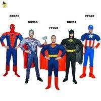 High Quality Adult MAN SuperHero Spiderman Batman Superman American Captain The Avengers Thor Costume for Halloween Party Show