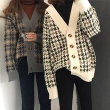 New autumn Plaid cardigan, women's medium and long loose and lazy style knitted jacket, Korean version knitted sweater(China)