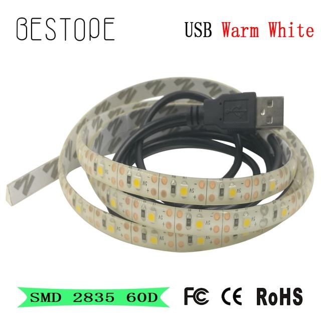 5 V USB Kabel LED streifen licht lampe SMD3528 1 m Weihnachten Flexible led Streifen Leuchtet TV Hintergrund Beleuchtung Warme weiß/Weiß