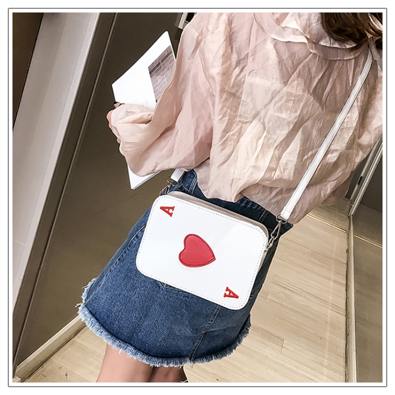 Women Korean Funny Messenger Bag One Shoulder Bag Playing Cards Heart Print Zipper Cubes Crossbody Female Bag in Top Handle Bags from Luggage Bags