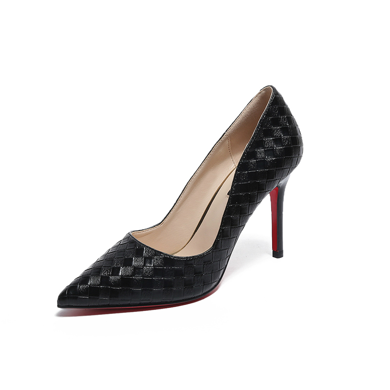 2018 Faux Crocodile Shoes Woman Office Ladies Red Sole High Heels Shoes Point Toe Women Pumps Sapatos Femininos цены онлайн