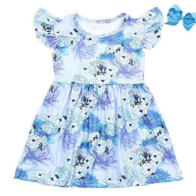 3e85c0447e0d Novedad recién llegados vestido Floral azul de verano para niñas jardín  vestidos perlas niños seda leche con accesorio