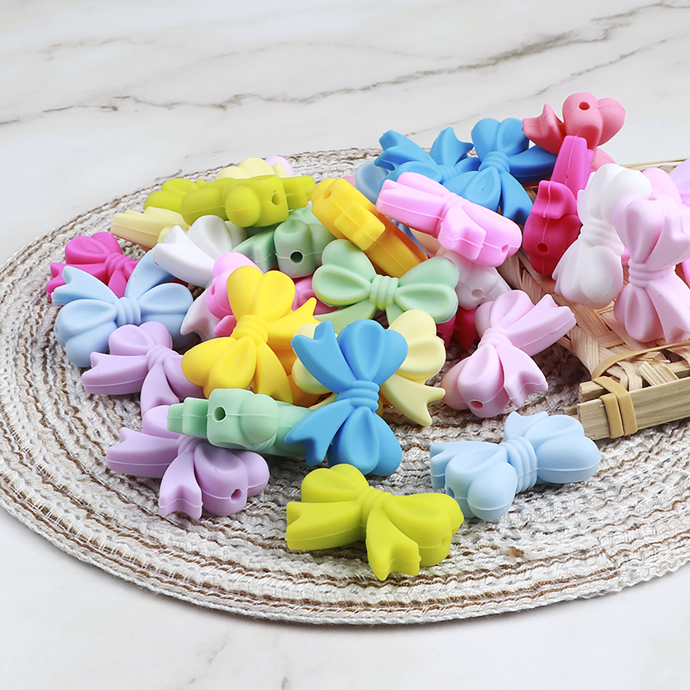 Silicone Beads For Necklaces Marking, 100pcs Bow Loose Beads Silicone Teething Accessories DIY Childen's Goods Teether BPA Free