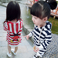 1-5 T de La Moda A Rayas Bebé Hoodies de Las Muchachas Sudadera de Algodón de Manga Larga Niños Del Ratón Larga Tops Rojo Azul L3