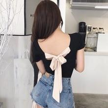 Fashion Women Slim T Shirt Sexy Back Lace Up Bow TShirt Slash Neck Short Sleeve female T-shirt Tops befree