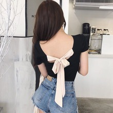 Fashion Women Slim T Shirt Sexy Back Lace Up Bow TShirt Women Slash Neck Short S