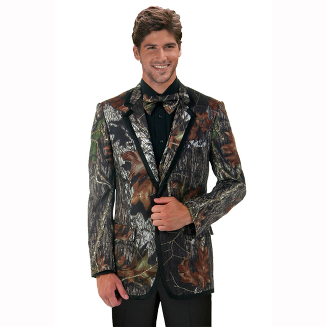 Man Tuxedos coat Camouflage tux Unique two Buttons Camo Mens Wedding ...