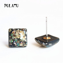 PULATU 2017 New Arrived Small Black Square Earrings for Women Resin Natural shell Geometric Minimalist Stud Earring Jewelry 0569