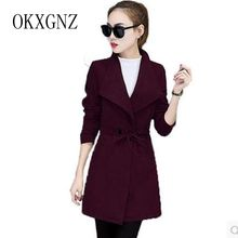 OKXGNZ 2017New Autumn Winter Fashion Pure color Big Yards Coat Medium long Leisure High end Long Sleeve Woolen cloth Coat QQ116