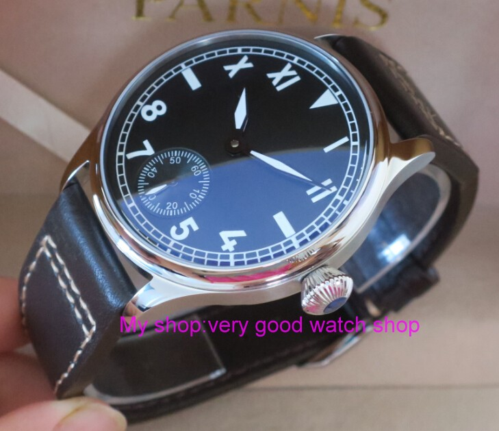 44 mm PARNIS black dial Asian 6498/3621 Mechanical Hand Wind men watches luminous Mechanical watches wholesale 03rnm 44 mm parnis white dial asian 6498 3621 mechanical hand wind men watches mechanical watches wholesale 389