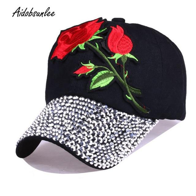 2017 New Women s Baseball Caps Embroidered Blue Rose Hat Floral Rivet Cap  Denim Hip Hop Cap Casquette Snapback Adjustable Hats 67941a01e4c