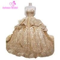 2018 Bling Bling Gold Champange Tassels Ball Gowns Dresses Silver White Gold Sparkling Luxury Wedding Dress