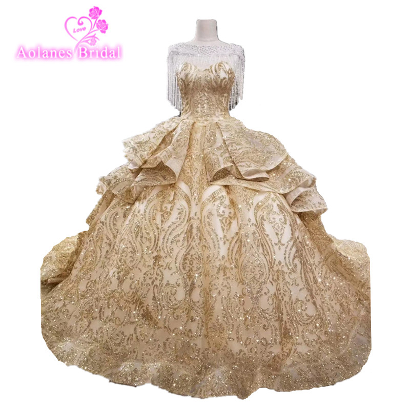 2018 Bling Bling Gold Champange Tassels Ball Gowns Dresses Silver White Gold Sparkling Luxury Wedding Dress Bridal Gowns