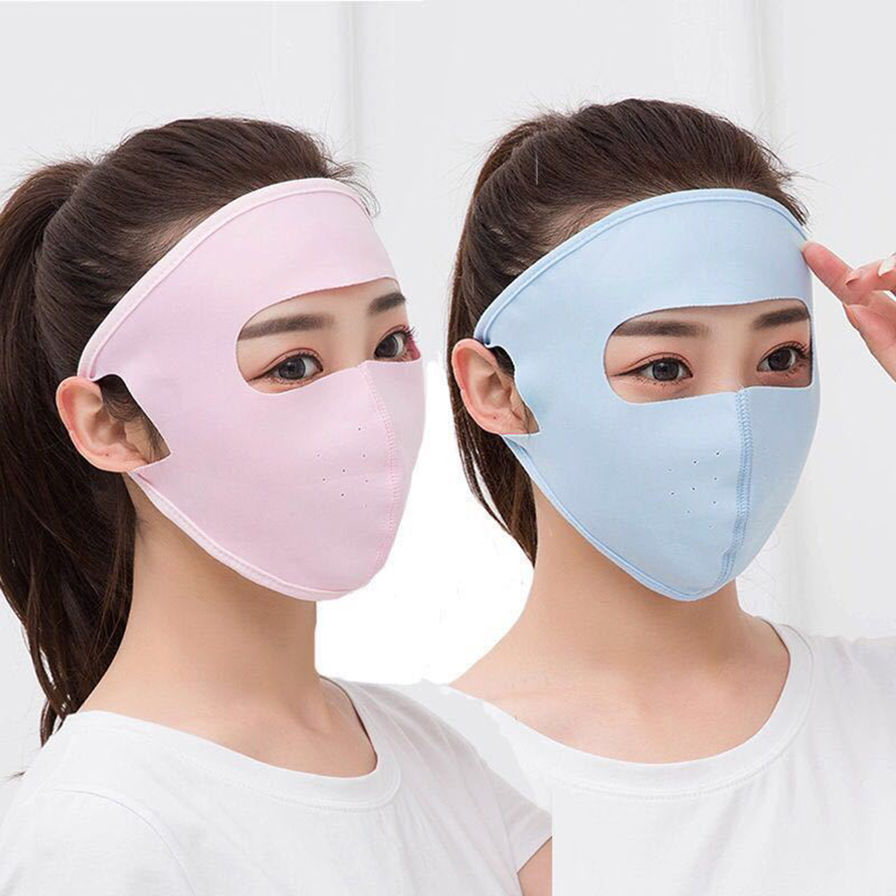 Unisex Summer Ice Silk Thin Sunscreen Full Face Mask UV Protection Breathable Cycling Solid Color Mask