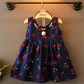 2017 новая мода мило Вишня печати шаблона рукавов ребенок детская одежда девочка платье 2--8 возрастов