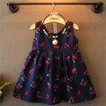 2017 moda de nueva lindo Cherry patrón de impresión sin mangas del cabrito de los niños ropa bebé vestido de la muchacha $ number-$ number edades