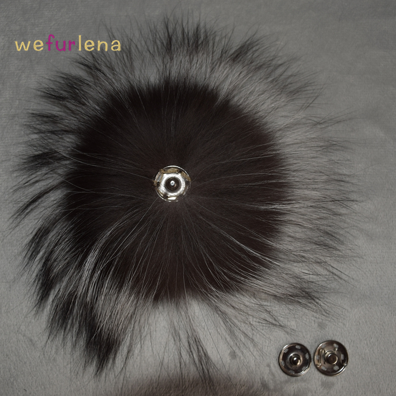 Fashion Fur Big Genuine Real Silver Fox Fur Pompom Fur Pom Poms Hair Accessories Fur Pompon Ball For Shoes Hats Bags