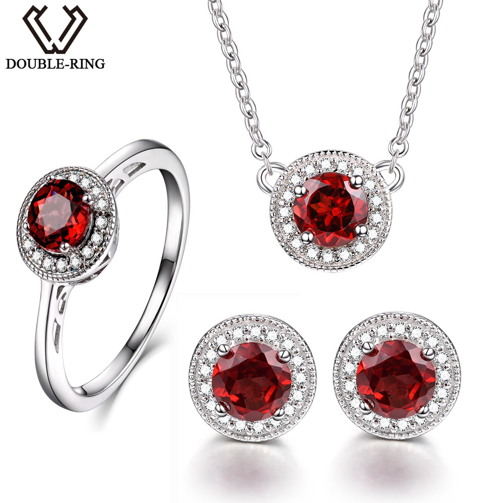 DOUBLE R Natrual Garnet 2 8ct Jewelry Classic Women Wedding Ring Female Red Stone Round 925