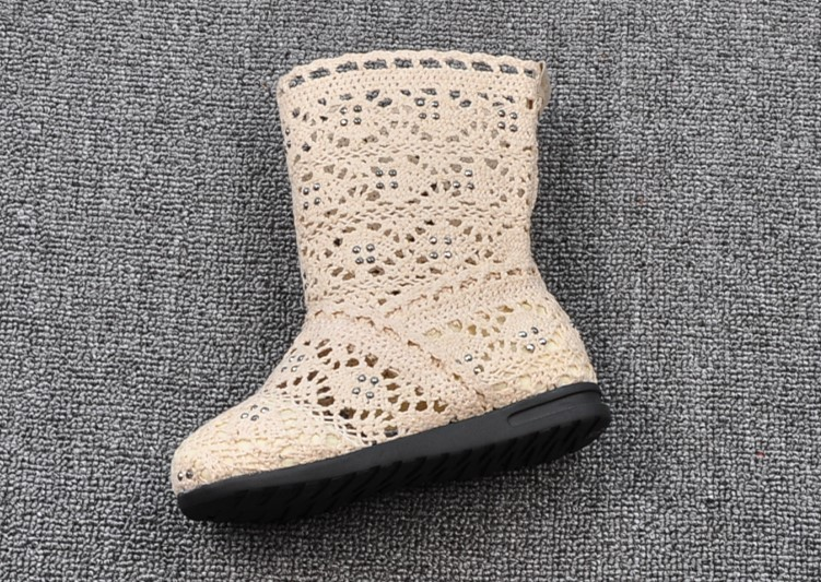 (A241)18 Classical Kids Shoes Summer Girls Boots Knitting Hollow Children Shoes Fashion Network Boots For Girls 3