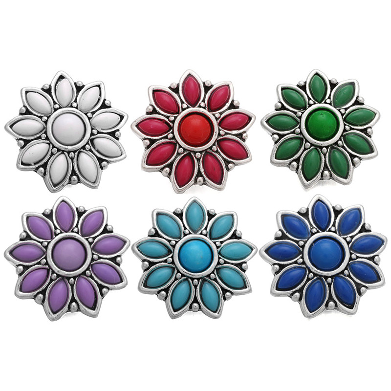 6pcs/lot New Crystal Flower Snap Button Mixed Colors Fit 18mm Snap Bracelet For Women Men image