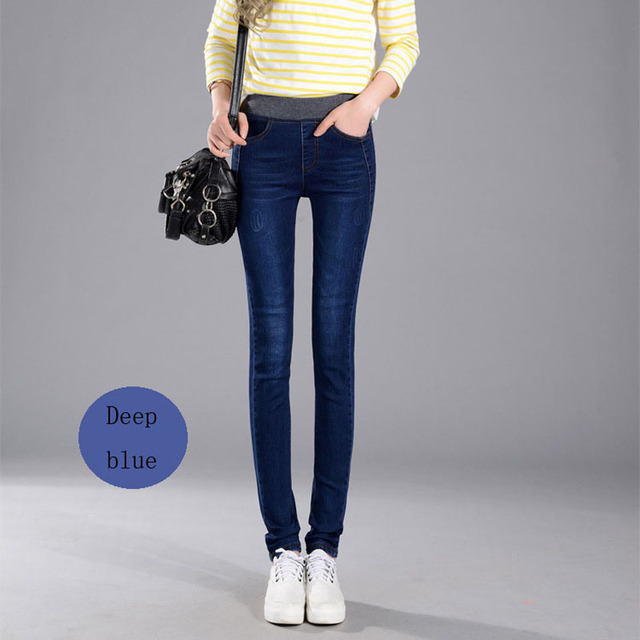 2017 Women's Jeans New Warm Female Casual Elastic Waist Stretch Jeans Plus Size 38 Slim Denim Long Pencil Pants Lady Trousers