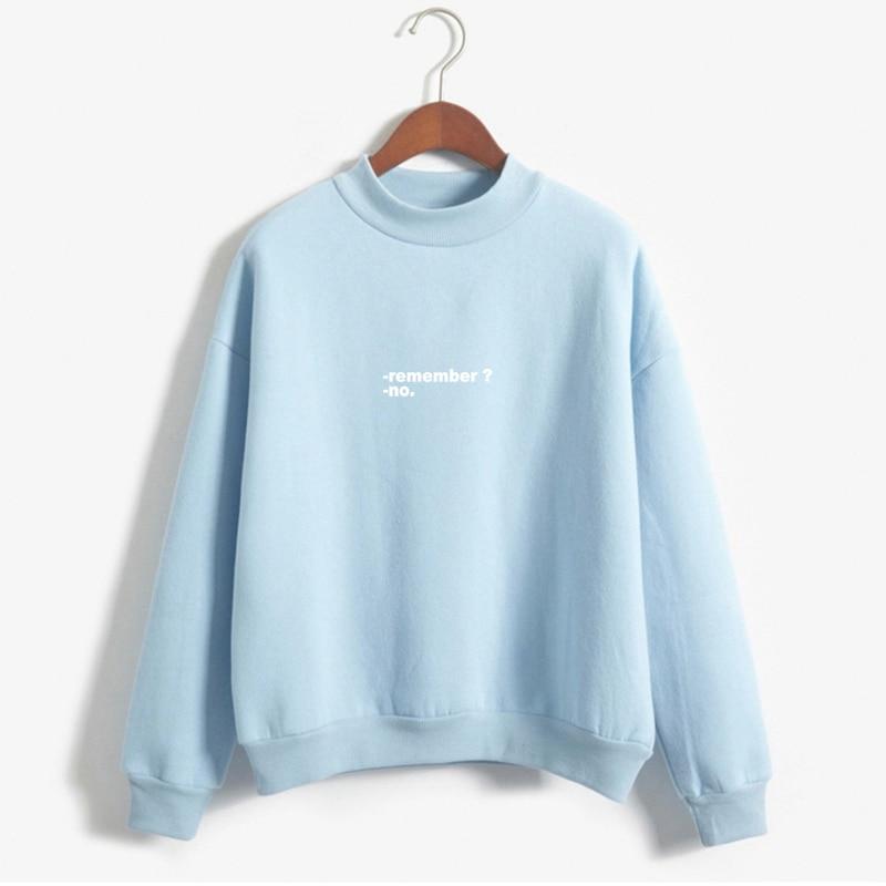 Sudaderas Mujer 2019 Hoodies Women Remember No Letters Printed Pastel Colors Sweatshirt Moletom Feminino Turtle Neck Pullover