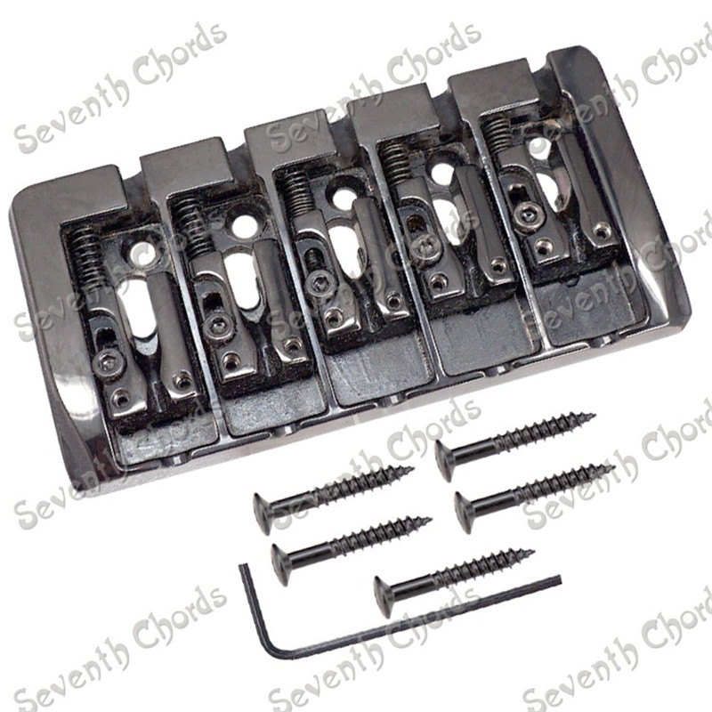 A Set Chrome Vintage Shape Saddle Bridge for 5 String Electric Bass Guitar Top Load or Strings through body black 6 saddle hardtail bridge top load 65mm electric guitar bridge b2c shop