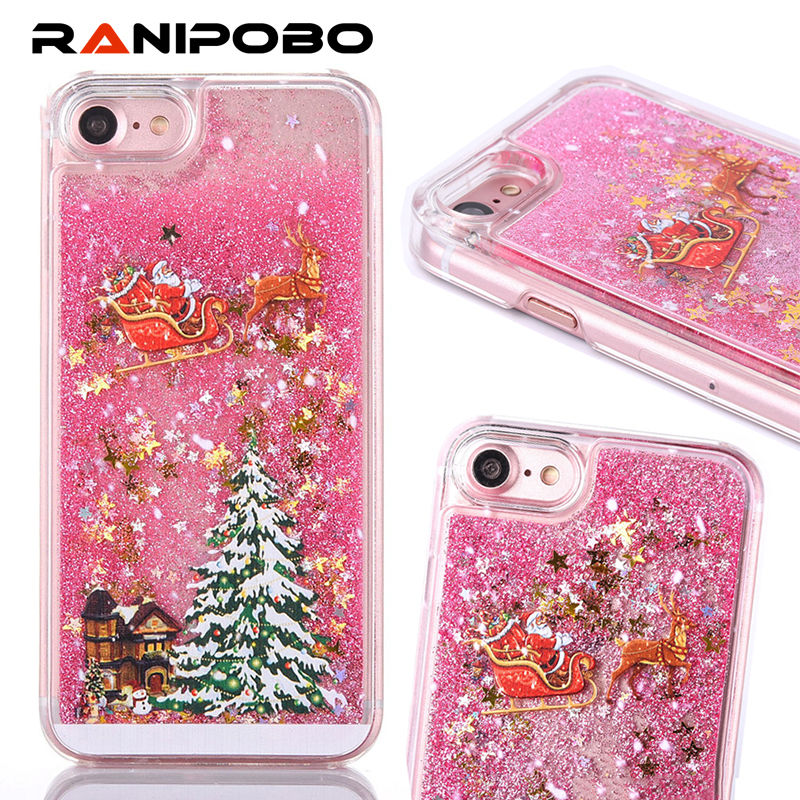 Luxury Glitter Quicksand Christmas Tree shining Liquid phone case For iPhone X XS Max 6 7 8Plus Fashion Bling Dynamic Back Cover